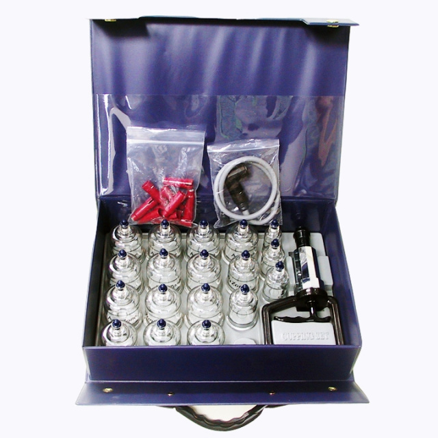 Cupping set with 19 boilable cups. Deluxe Cupping set with extension tube.